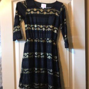 GB Girls black and gold dress size xl